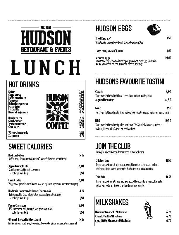 lunchkaart Hudson Den Haag Zuid